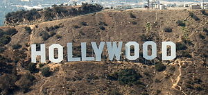 The Hollywood Sign, shot from an aircraft at a...