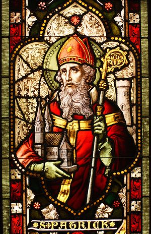 Saint Patrick stained glass window from Cathed...