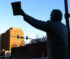 The Rev. Billy Graham Statue preaches to the J...