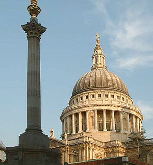 St Paul's Cathedral dome from Paternoster Squa...