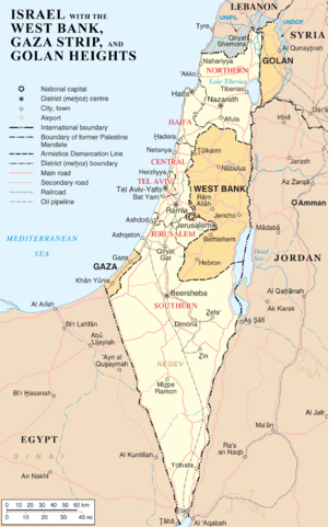 Map of Israel, the Palestinian territories (We...