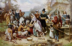 The First Thanksgiving, painted by Jean Leon G...