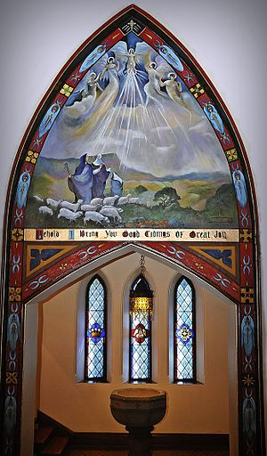 English: Baptistery Mural, Trinity Episcopal C...